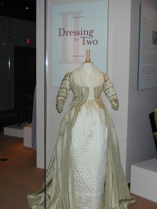 "The earliest dress featured in ""Dressing for Two,"" from about 1775."